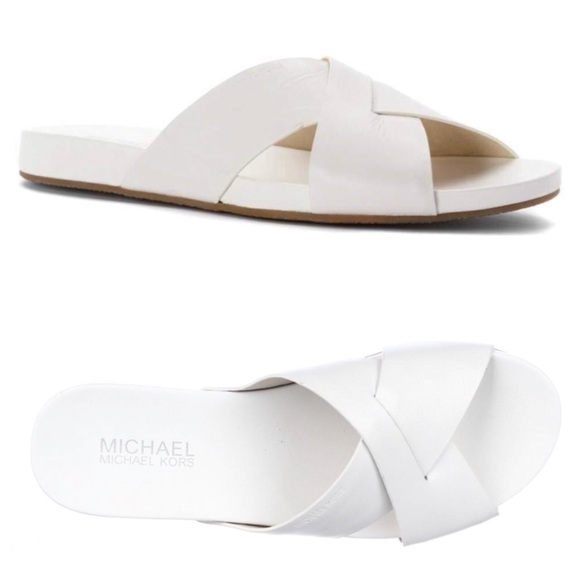 6937be91b293 Michael Kors Somerly White Leather Slides Sz 10. M 5b204208c89e1deb7a09b62b